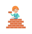 Boy Building A Brick Wall Kid Dressed As Builder vector image