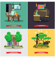 set of bad habits concept posters in flat vector image