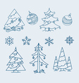 Christmas doodle elements collection vector image vector image