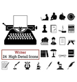 Set of 24 Writer Icons vector image vector image