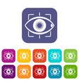 eye icons set flat vector image