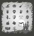 Halloween icons with Halloween background vector image