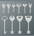 realistic silver isolated keys on wall vector image