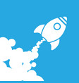 white rocket icon with clouds on a blue background vector image
