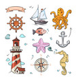nautical doodle design set with sea star vector image