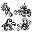 set of black and white floral elements vector image vector image