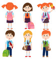 set of isolated pupils of the school vector image