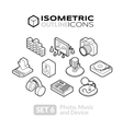 Isometric outline icons set 6 vector image