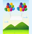 banner template with colorful balloons in sky vector image