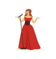 beautiful woman opera singer in long red dress vector image