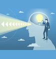 businessman with new bright idea and clear vision vector image
