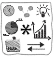 hand drawn business doodles vector image