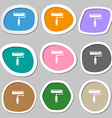 Paint roller symbols Multicolored paper stickers vector image