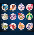 set with cartoon zodiac signs vector image