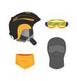 snowboarding equipment set flat isolated vector image vector image