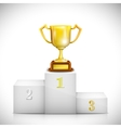 Winner Pedestal With Gold Trophy Cup vector image