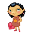 Character fashionable smiling girl with heart vector image