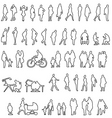 sketched people silhouettes vector image