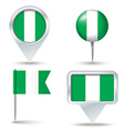 Map pins with flag of Nigeria vector image