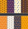 Set Seamless Patterns for Happy Halloween vector image