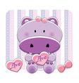 hippo love vector image