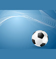 Abstract blue wavy soccer background with ball vector image vector image