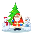 Santa Claus Christmas tree and snowmans vector image