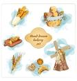 Bakery hand drawn decorative elements set vector image