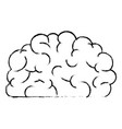 brain side view in black blurred contour vector image