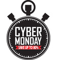 Cyber monday save up to 80 stopwatch black icon vector image