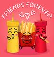 fried potatoes and ketchup and mustard cartoon vector image