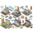 Isometric Building Factory Set vector image