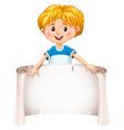 little boy holding a blank sheet vector image