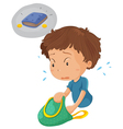 Boy looking for wallet vector image