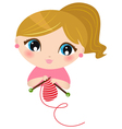Beautiful knitting Girl isolated on white vector image vector image