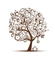 Art tree with kitchen utensils sketch drawing for vector image vector image