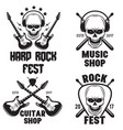 set of rock and roll music emblems labels badges vector image