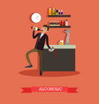 alcoholic in flat style vector image