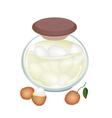 A Jar of Delicious Rambutans In Syrup vector image vector image