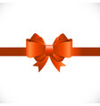 Gift Card with Orange Bow and Ribbon vector image