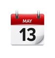 May 13 flat daily calendar icon Date and vector image