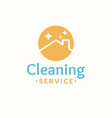 cleaning service logo roof of the house in the vector image