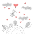 Doodle Girl Flies on Ball in the Rain of Hearts vector image