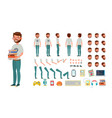 geek man animated character creation set vector image