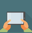 hand holding tablet pc with blank screen - flat vector image
