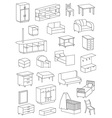 icons furniture line on a white background vector image