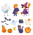 kids in halloween costumes vector image