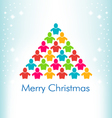 People Christmas Tree Card vector image