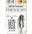 Karaoke certificate template best singer vector image