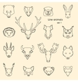 Forest animals line icons vector image